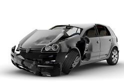 black car in accident