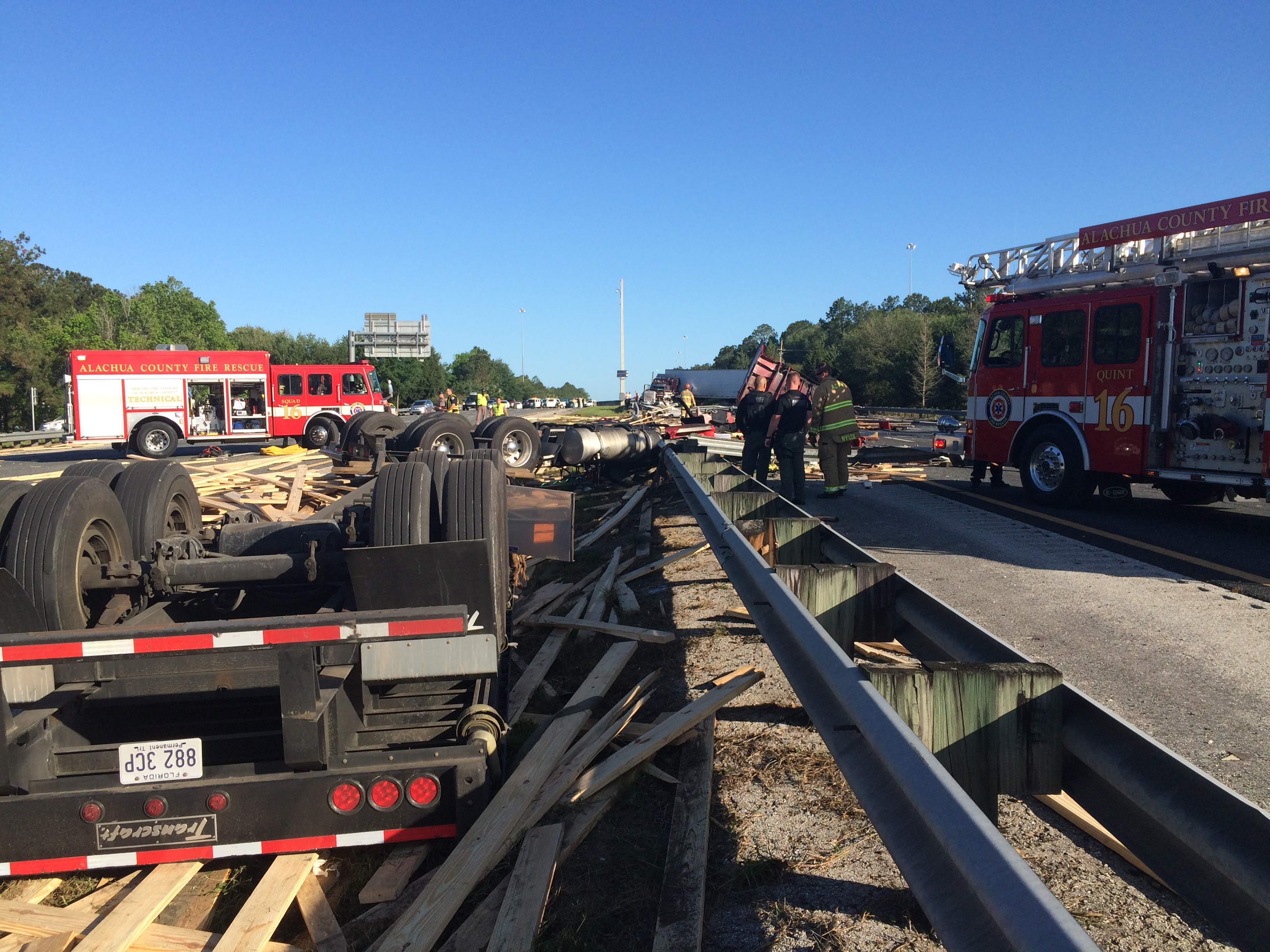 accident involving an overturned semi in Gainesville